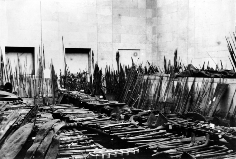 Weapons originally belonging to the Wellcome Historical Medical Museum laid out in the Duveen Gallery at the British Museum, 1955. Wellcome Collection